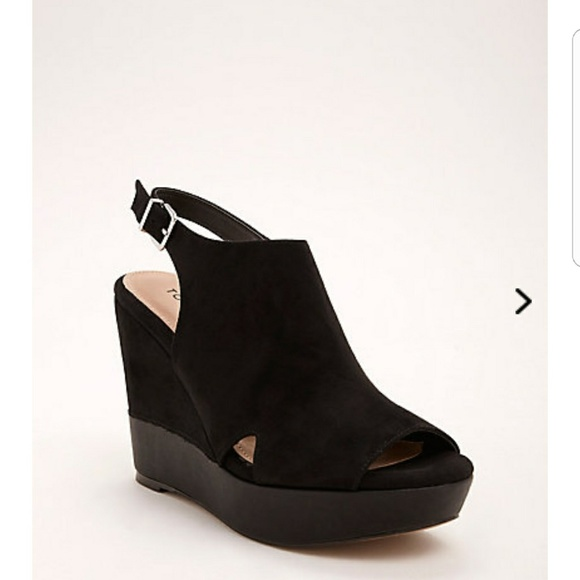 Faux Suede Covered Platform Wedges Wide